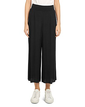 Theory - Ribbed Viscose Crepe Wide Leg Cropped Pants