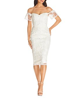 Dress the Population - Tara Off-the-Shoulder Lace Bodycon Dress