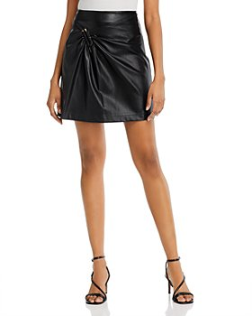 Lucy Paris - Gathered Faux Leather Mini Skirt - 100% Exclusive