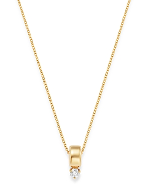 Zoe Chicco 14K Yellow Gold Prong Diamonds Diamond Solitaire Pendant Necklace, 14-16