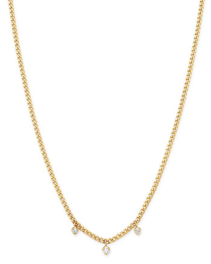 "Zoë Chicco - 14K Yellow Gold Prong Diamonds Diamond Dangle Chain Necklace, 14-16"""