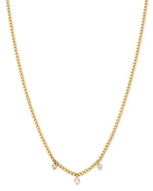 Zoe Chicco 14K Yellow Gold Prong Diamonds Diamond Dangle Chain Necklace, 14-16-Jewelry & Accessories