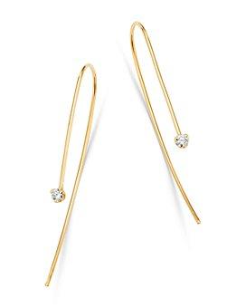 Zoë Chicco - 14K Yellow Gold Prong Diamonds Diamond Long Wire Drop Earrings