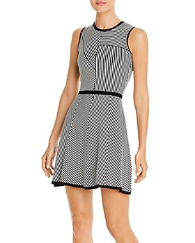 PAULE KA - Striped Knit Mini Fit-and-Flare Dress