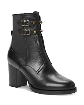 Valentino Garavani - Women's Beatle Mid-Heel Double-Buckle Boots