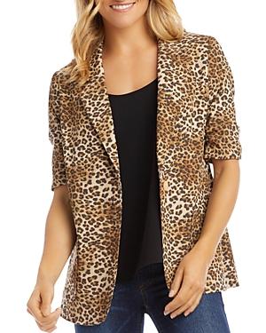 Karen Kane Leopard Print Ruched-Sleeve Blazer