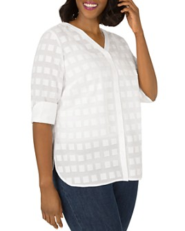 Foxcroft Plus - Asher Cotton Burnout-Square Top