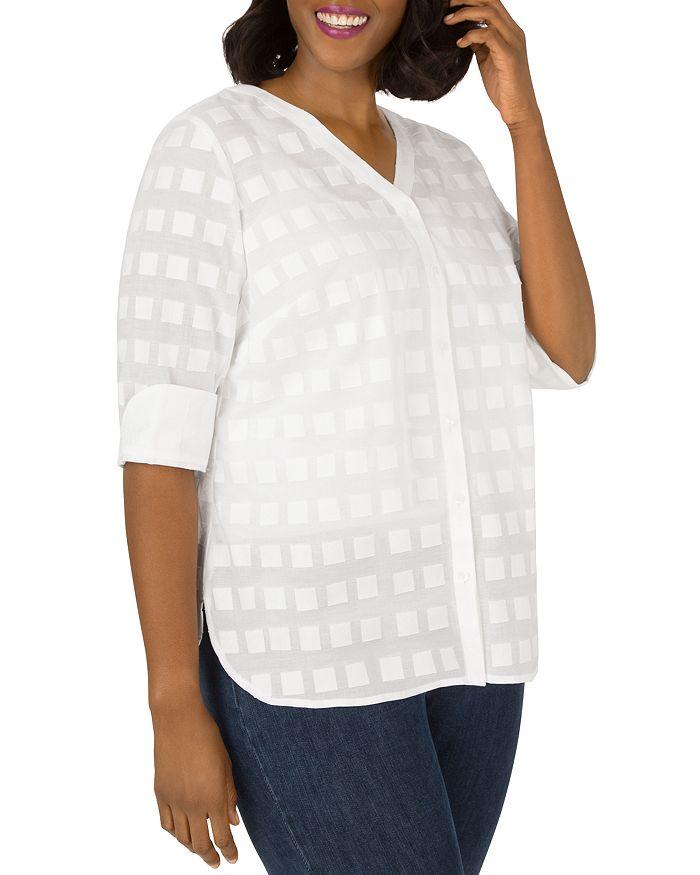 Foxcroft Plus - Asher Cotton Burnout-Square Top