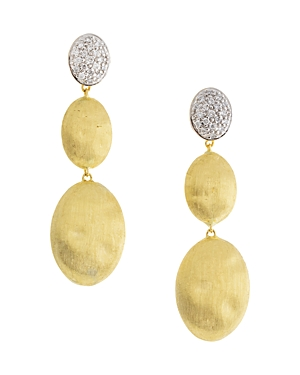 Marco Bicego 18K White Gold & Yellow Gold Siviglia Diamond Drop Earrings-Jewelry & Accessories