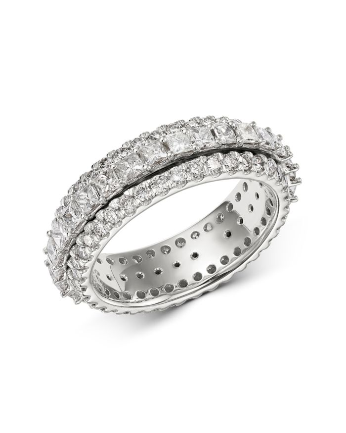 Bloomingdale's Diamond Princess Three Row Eternity Band in 14K White Gold, 3.0 ct. t.w. - 100% Exclusive  | Bloomingdale's