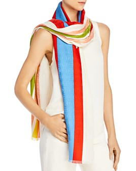 Tory Burch - Striped Logo Jacquard Oblong Scarf