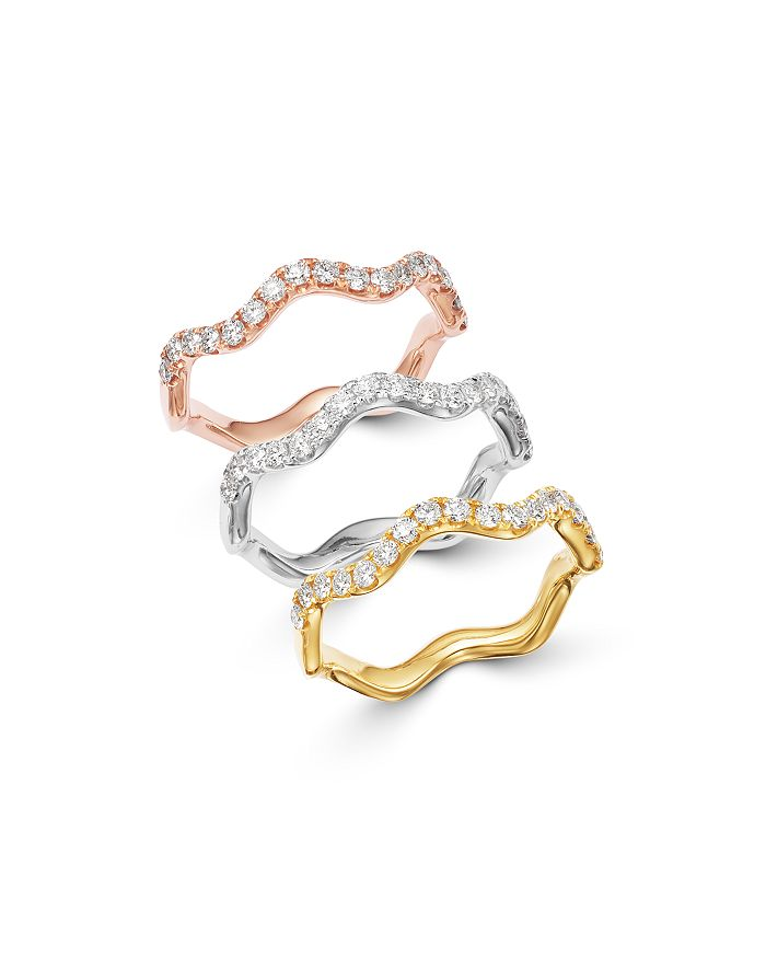 Bloomingdale's - Diamond Wave Stack Ring Collection in 14K Rose, White or Yellow Gold - 100% Exclusive