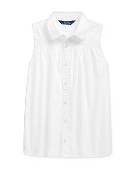 Ralph Lauren - Girls' Cotton Smocked Broadcloth Shirt - Big Kid