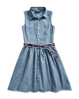 Ralph Lauren - Girls' Belted Chambray Shirtdress - Big Kid