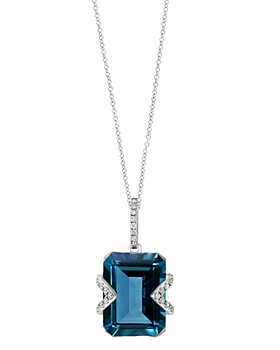"Bloomingdale's - London Blue Topaz & Diamond Pendant Necklace in 14K White Gold, 18""L - 100% Exclusive"