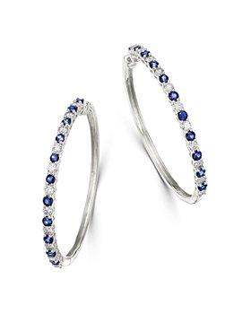 Bloomingdale's - Blue Sapphire & Diamond Hoop Earrings in 14K White Gold - 100& Exclusive