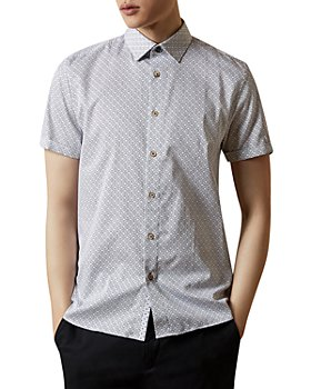 Ted Baker - MMA Namasty Geo Print Slim-Fit Short Sleeve Button Down Shirt