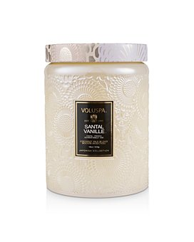 Voluspa - Santal Vanille Large Embossed Glass Candle with Lid
