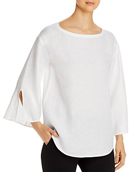 Eileen Fisher - Organic Linen Boat Neck Blouse - 100% Exclusive