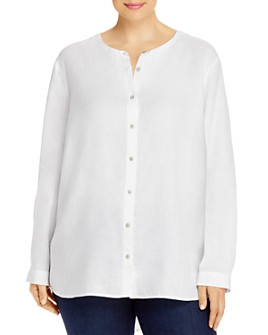 Eileen Fisher Plus - Organic Linen Button-Front Shirt