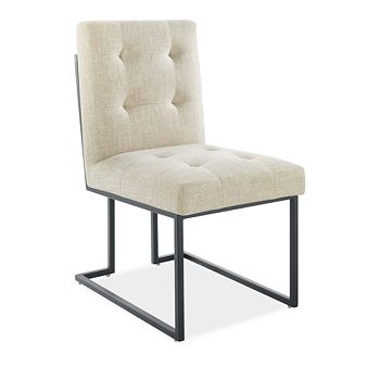 Modway - Privy Black Stainless Steel Upholstered Fabric Dining Chair