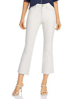 FRAME - Le Crop Leather Mini Bootcut Jeans in Blanc