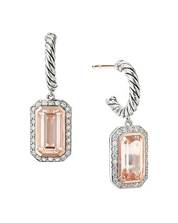 David Yurman - Sterling Silver Novella Drop Earrings with Morganite, Pavé Diamonds and 18K Rose Gold