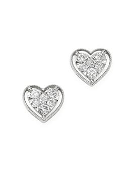 Bloomingdale's - Diamond Heart Stud Earrings in 14k White Gold - 100% Exclusive