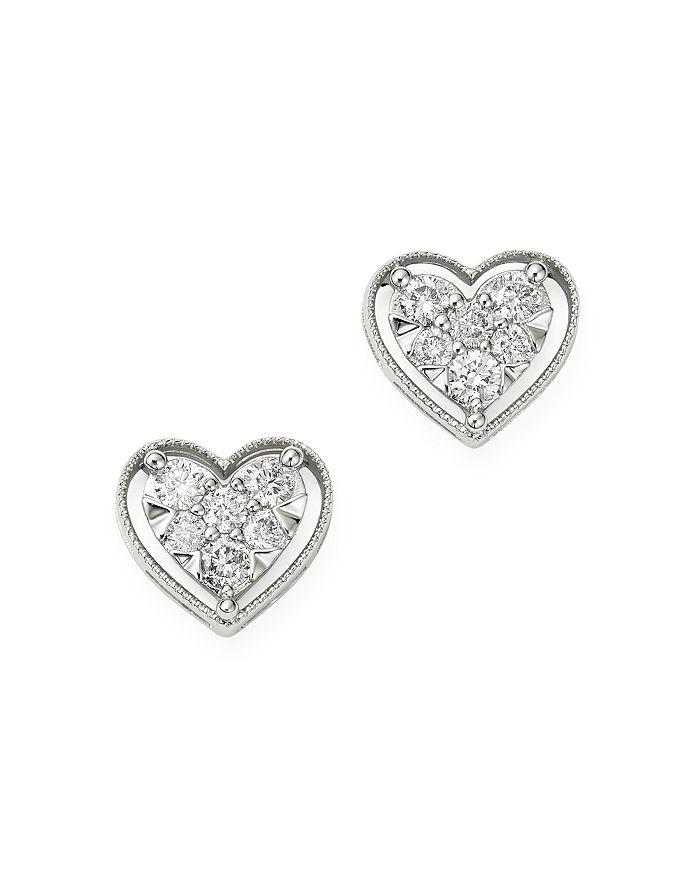 Bloomingdale's - Diamond Heart Stud Earrings in 14k White Gold, 0.40 ct. t.w. - 100% Exclusive