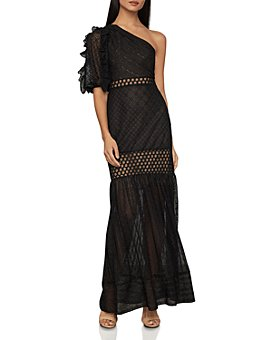 BCBGMAXAZRIA - Honeycomb Tulle One-Shoulder Dress