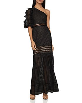 BCBGMAXAZRIA - Honeycomb Tulle One-Shoulder Dress
