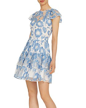 ML Monique Lhuillier - Embroidered-Mesh Tiered Dress