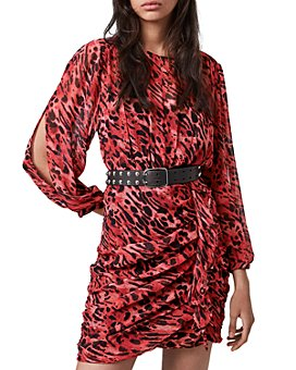 ALLSAINTS - Barre Ambient Animal-Print Ruffled Dress