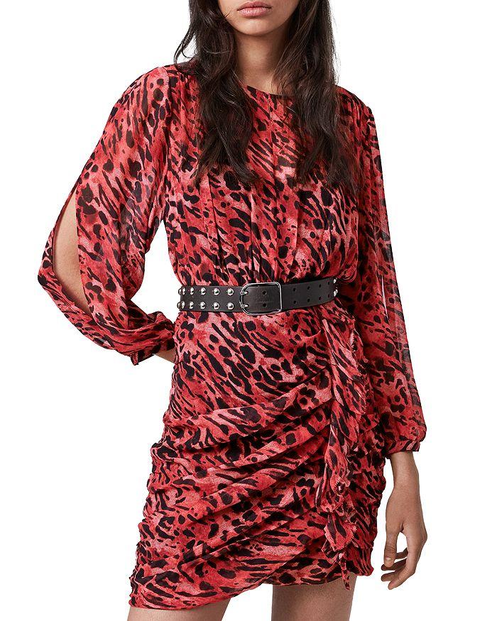 ALLSAINTS - Barre Ambient Animal-Print Ruffled Dress