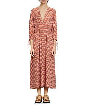 Sandro - Roche Abstract-Print Midi Dress