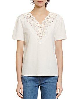 Sandro - Anais Lace-Trim T-Shirt