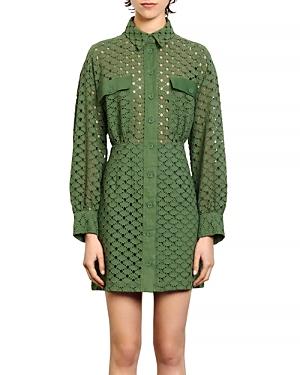 Sandro Shera Lace Shirt Dress