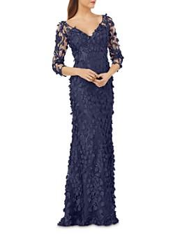 Carmen Marc Valvo Infusion - Floral Appliqué Illusion Gown