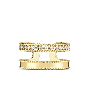 Roberto Coin 18K Yellow Gold Symphony Princess Diamond Double Band Ring-Jewelry & Accessories