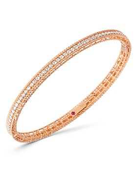 Roberto Coin - 18K Rose Gold Symphony Princess Diamond Oval Bangle Bracelet