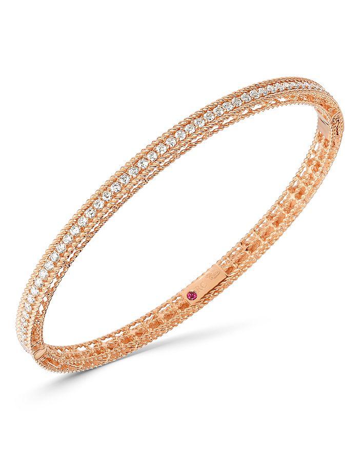 Roberto Coin - 18K Rose Gold Symphony Princess Diamond Oval Bangle Bracelet