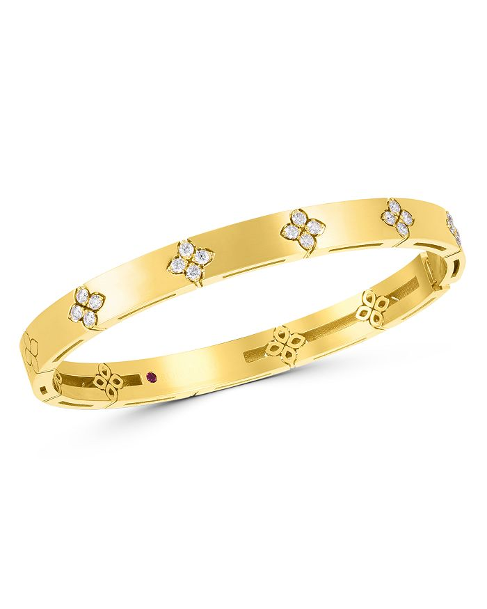 Roberto Coin - 18K Yellow Gold Love in Verona Diamond Flower Bangle Bracelet