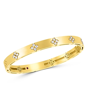 Roberto Coin 18K Yellow Gold Love in Verona Diamond Flower Bangle Bracelet-Jewelry & Accessories