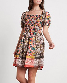 Velvet by Graham & Spencer - Taria Cotton Printed Puff-Sleeve Dress
