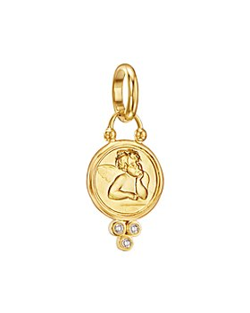 Temple St. Clair - 18K Gold 10mm Angel Pendant with Diamonds