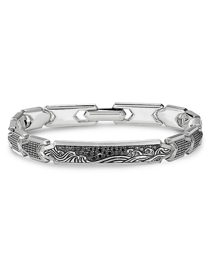David Yurman - Waves ID Link Bracelet with Pavé Black Diamonds