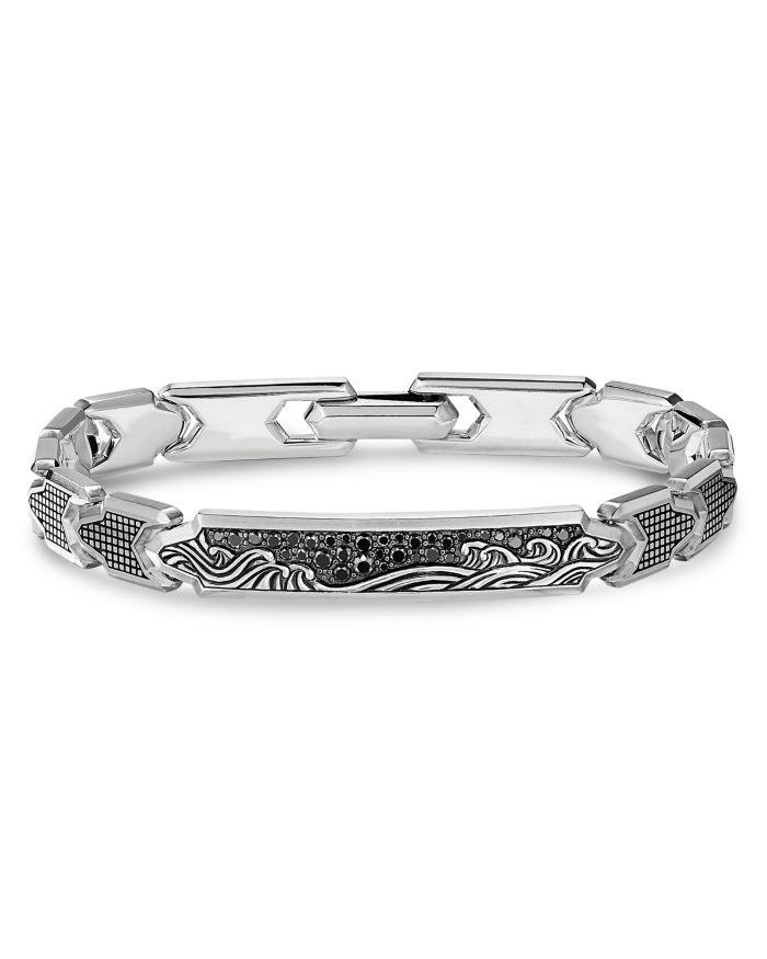 David Yurman Waves ID Link Bracelet with Pavé Black Diamonds    Bloomingdale's