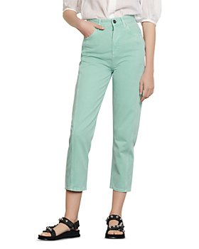 Sandro - Micky High-Waisted Cropped Straight-Leg Jeans in Mint
