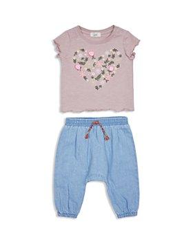 Peek Kids - Girls' Lianna Cotton Floral Tee & Denim Pants Set - Baby