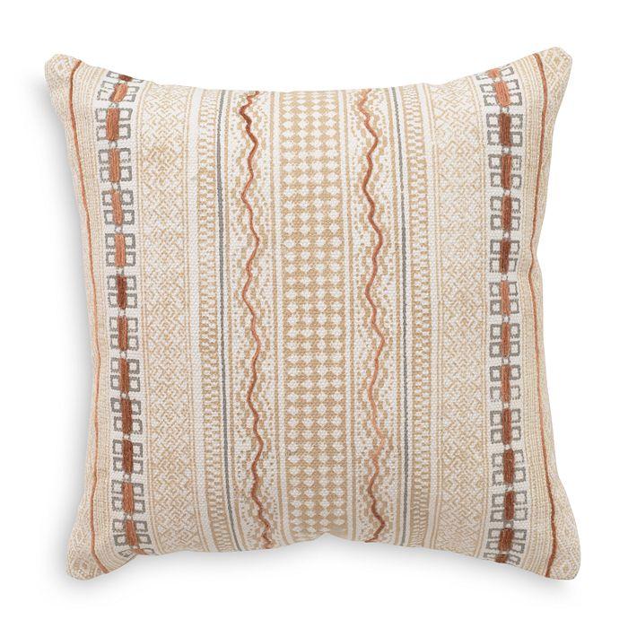 "Mitchell Gold Bob Williams - Hand Blocked Printed Stripe & Chenille Accent Decorative Pillow, 20"" x 20"""